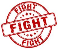 Fight red stamp. Fight red grunge round stamp isolated on white background Royalty Free Stock Photos