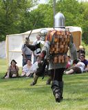 Fight reenactment renaissance festival. Reanactment of a fight between medieval knights at Renaissance Festival, Middle Amana, Iowa stock images