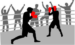 Fight in the ring. Training professional sports - illustration Stock Photo