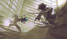 Fight between samurai and robot in dojo. Sci-fi action scene, illustration,digital painting Royalty Free Stock Image