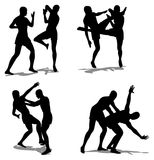 Fight  silhouette. On white Royalty Free Stock Images