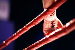 Before the fight start, hand of a boxer at the ring Royalty Free Stock Image