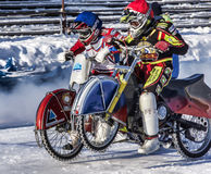 The fight at the start. Russia. The Republic Of Bashkortostan. The Ufa. Racing on ice. The Championship Of Russia. A final . February 1, 2014 Stock Photos