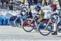 The fight on the starting line. Russia. The Republic Of Bashkortostan. The Ufa. Racing on ice. The Championship Of Russia. A final . February 1, 2014 Stock Images