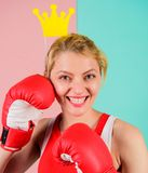 Fight for success. VIP gym. Fighting queen. Woman boxing glove and crown symbol of princess. Queen of sport. Become best stock photo