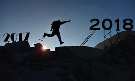 Adventurous, dynamic and dynamic year ;action man. Fight for a successful, energetic and healthy year Royalty Free Stock Photo