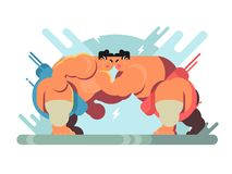 Fight of sumo athletes. Fight of sumoists athletes. Sport japa sumo, characters wrestler japanese fat and strength, vector illustration Stock Image