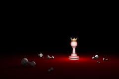 Fight for survival. The last Hero (chess metaphor). 3D render il royalty free stock image