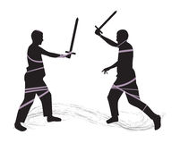 Fight on swords. Silhouettes of two swordsmen. Vector illustration Stock Photography
