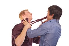 Fight of two adult guy isolated. Fight of two businessmen on a isolate background, office wars Stock Images
