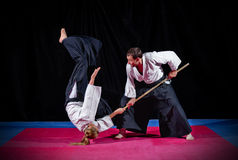 Fight between two aikido fighters Stock Photography