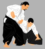 Fight between two aikido fighters . Fight between two aikido fighters  silhouette symbol illustration. Sparring on training action. Self defense, defence art Stock Images