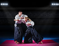 Fight between two aikido fighters Royalty Free Stock Images