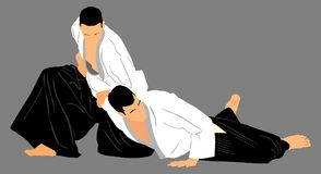 Fight between two aikido fighters . Fight between two aikido fighters  symbol illustration. Sparring on training action. Self defense, defence art excercising Royalty Free Stock Image