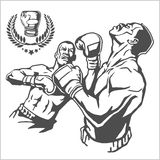Fight between two boxers - monochrome illustrations. Stock Photos