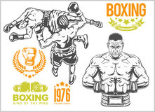Fight between two boxers - set of monochrome illustrations.Plus vintage boxing emblems, labels, badges, logos and. Designed elements. Monochrome style Stock Photography