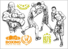 Fight between two boxers - set of monochrome illustrations.Plus vintage boxing emblems, labels, badges, logos and. Designed elements. Monochrome style Stock Photos