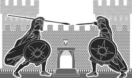 Fight of two knights. Vector illustration Royalty Free Stock Photography