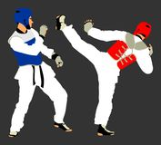 Fight between two taekwondo fighters vector illustration isolated. Sparring on training action. Self defense, defence art . Fight between two taekwondo fighters Stock Images