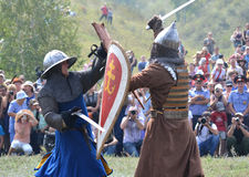 Fight between two warriors reenactors Royalty Free Stock Images