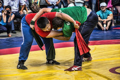 Fight. Ufa Republic Of Bashkortostan. Russia. Open tournament on wrestling kuresh Cup of the head of the city Administration , devoted to the city Day Stock Photos