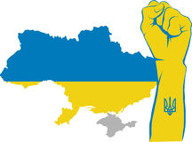 Fight for Ukraine. Raised fist and Ukraine map with gray Crimean peninsula Stock Photography