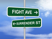 Fight Versus Surrender road sign Royalty Free Stock Photography