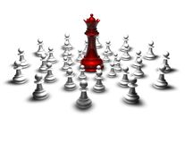 Fight, war concept with red chess queen and pawns Royalty Free Stock Images