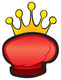 Fight winning symbol. Red glove with crown boxing trophy Royalty Free Stock Photography