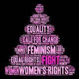 Fight Womens Rights Word Cloud. On a black background Royalty Free Stock Image