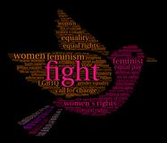 Fight Womens Rights Word Cloud. On a black background Royalty Free Stock Photos