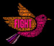 Fight Womens Rights Word Cloud. On a black background Royalty Free Stock Photography