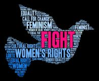 Fight Womens Rights Word Cloud. On a black background Stock Images