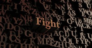 Fight - Wooden 3D rendered letters/message. Can be used for an online banner ad or a print postcard Stock Photography