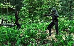 Fight in the Woods. Digital render of two rogues fighting in the forest Stock Photos