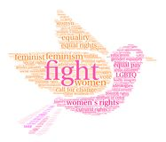 Fight Word Cloud. Women`s Rights Fight word cloud on a white background Stock Image