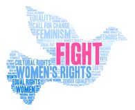 Fight Word Cloud. Women`s Rights Fight word cloud on a white background Stock Photo