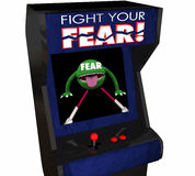 Fight Your Fear Beat Afraid Bravery Courage Arcade Game. 3d Illustration Royalty Free Stock Images