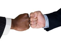 Fight for your right. Black and white fists opposite of each other Stock Photo