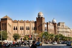 fightbulls的竞技场在巴塞罗那西班牙 免版税库存照片