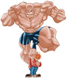 Fighter. Big guy jumping to strick a little boy with a lolly pop royalty free illustration