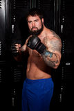 Fighter. In a locker room Royalty Free Stock Photography