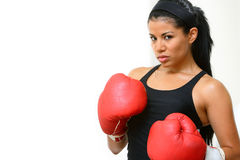 Fighter. Beautiful  fighter girl training in a gym Royalty Free Stock Photo