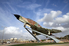 Fighter Air Force Israeli F-4 Phantom on a pedestal in Be'er She Stock Images