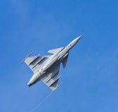 Fighter aircraft. On the blue sky stock photo