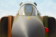 Fighter aircraft front part detail with cockpit Royalty Free Stock Image