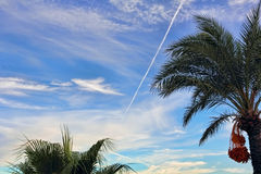 Fighter aircraft fuel trace in the turkish blue sky. Stock Photography