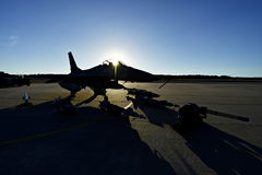 Fighter aircraft with gear on runway Stock Image