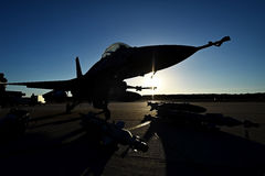 Fighter aircraft with gear on runway Stock Photos