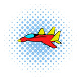 Fighter aircraft icon, comics style Royalty Free Stock Photography